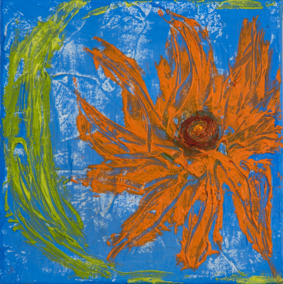Orange Dahlia on Blue